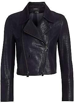 Akris Women's Cropped Leather Moto Jacket