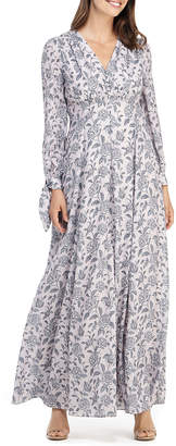 Gal Meets Glam Floral V-Neck Long-Sleeve Maxi Dress