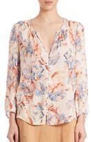 Joie Lennix Silk Floral-Print Blouse