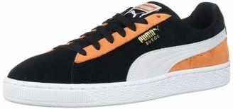 Puma Unisex-Adult Suede Classic Sneaker Black White-Jaffa Orange 4 M US