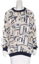 Emma Cook Abstract Print Silk Top