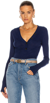 Enza Costa Cashmere Long Sleeve Cuffed Henley Top in French Navy | FWRD