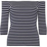 Dorothy Perkins Womens Petite Navy And White Bardot Top- Blue