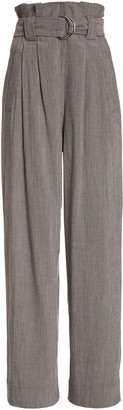 Ganni Melange High-Rise Crepe Suiting Pants