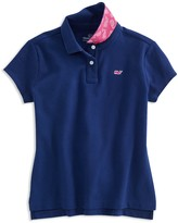 Vineyard Vines Girls' Polo Shirt with Contrast Print Under Collar