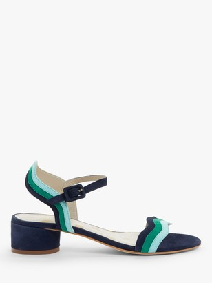 Boden Kitty Block Heeled Suede Wave Print Sandals, Multi Blue