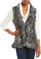Multiples Multi Colored Open Front Ruffle Front Faux-Fur Vest