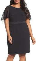 Adrianna Papell Plus Size Women's Chiffon Capelet Sheath Dress