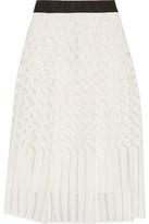 Milly Illusion Grosgrain-Trimmed Jacquard Midi Skirt