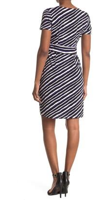 London Times Techno Stripe Print Jersey Sheath Dress