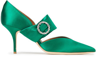 Malone Souliers Maite 70 Crystal-embellished Satin Pumps