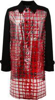 Comme des Garcons red check panel coat - men - Wool/PVC - M