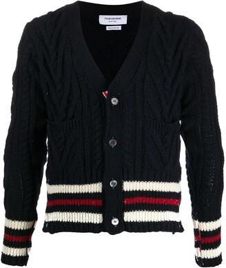 Thom Browne Aran cable knit cardigan