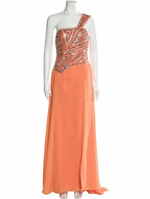 Terani Couture One-Shoulder Long Dress w/ Tags Orange