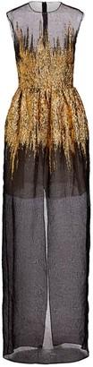 Oscar de la Renta Sheer Foil Overlay Gown