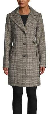 Gallery Petite Plaid Wool-Blend Topper Coat