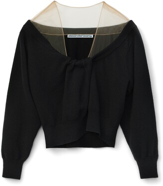 Alexander Wang Sheer Shoulder Wool & Cashmere Blend Sweater