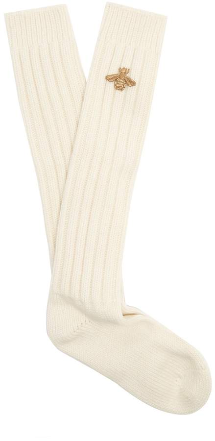Gucci Bee-embroidered chunky ribbed-knit socks