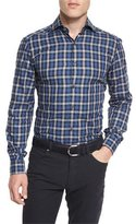Ermenegildo Zegna Plaid Long-Sleeve Sport Shirt, Navy