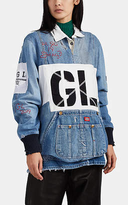 Greg Lauren Women's Embellished Denim Patchwork Rugby Top - Blue