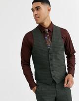 Rudie heritage check skinny fit waistcoat-Green