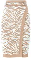 Balmain zebra intarsia pencil skirt - women - Viscose - 38