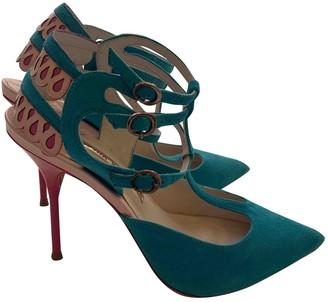 Sophia Webster Turquoise Suede Heels
