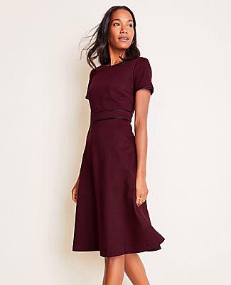 Ann Taylor Petite Faux Leather Trim Plaid Flare Dress