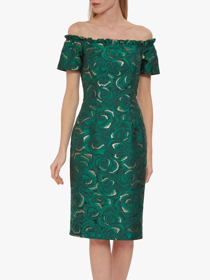 Gina Bacconi Coraima Floral Dress, Green/Gold