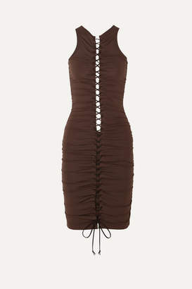 Unravel Project Lace-up Ruched Stretch-jersey Mini Dress - Brown