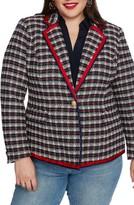 Court & Rowe Satin Trim Plaid Tweed Blazer