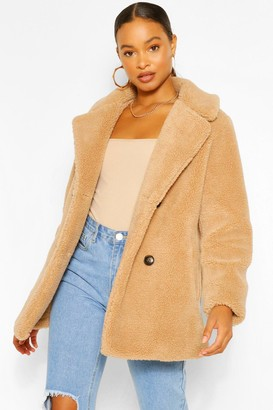 boohoo Double Breasted Teddy Faux Fur Coat