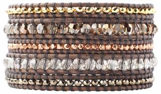 Chan Luu Bronze Shade Mix Crystal and Semi Precious Stones Brown Wrap Bracelet