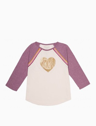 Calvin Klein Little Girls Heart Logo Raglan T-Shirt