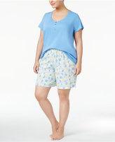 Charter Club Plus Size Top and Bermuda Shorts Cotton Knit Mix-It Pajama Set, Only at Macy's