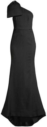 Rebecca Vallance Francesca Crinkle Bow Shoulder A-Line Gown