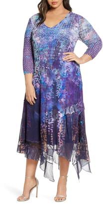 Komarov Asymmetrical Hem Midi Dress