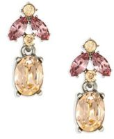 Oscar de la Renta Floral Navette Small Crystal Drop Earrings