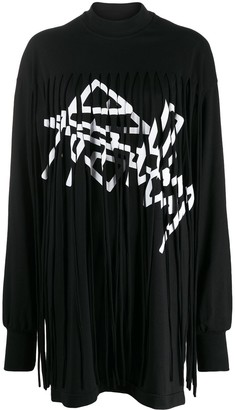 Palm Angels Fringed Over Dress Black White