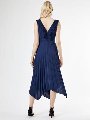Dorothy Perkins Luxe Pleat Trim Midi Dress - Navy