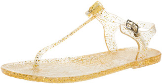Carolina Herrera Gold Jelly Thong Sandals
