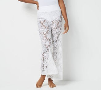 G.I.L.I. Got It Love It G.I.L.I. Pull-On Knit Lace Swim Wide Leg Cover-up Pants