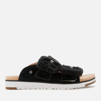 UGG Women's Fluff Indio Double Strap Sandals - Black - UK 3