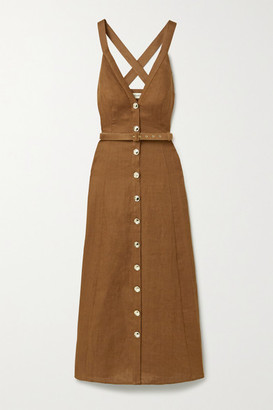 Nicholas Yasmine Linen Maxi Dress - Brown