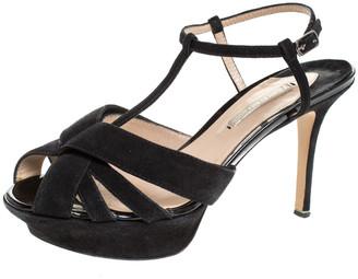 Nicholas Kirkwood Black Suede T Strap Platform Sandals Size 37.5