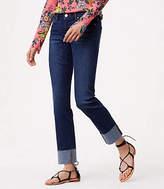LOFT Curvy Cuffed Straight Leg Jeans in Pure Dark Indigo Wash