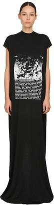 Rick Owens Printed Cotton Jersey Long T-Shirt Dress