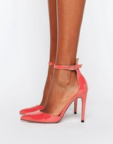 Little Mistress Pointed Court Heeled Shoes with Ankle Strap