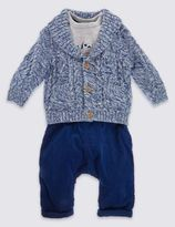 Marks and Spencer 3 Piece Cardigan T-Shirt and Trouser Set