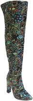 Bamboo Black Floral Madam Over-the-Knee Boot